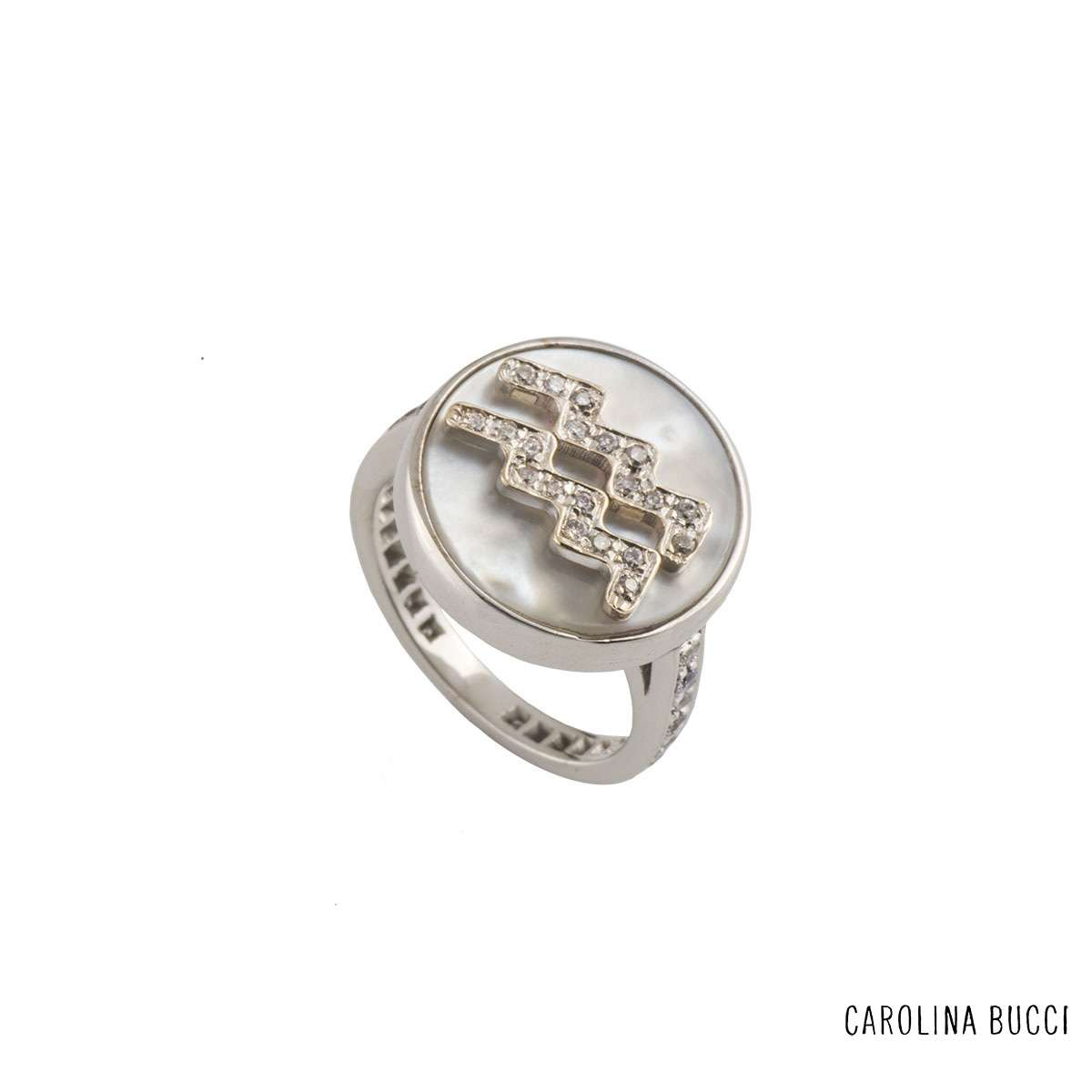 Carolina Bucci White Gold Diamond and Mother of Pearl Lucky Zodiac Ring
